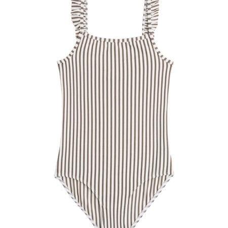 Beachlife Taupe stripe mini meisjes badpak 960361-782