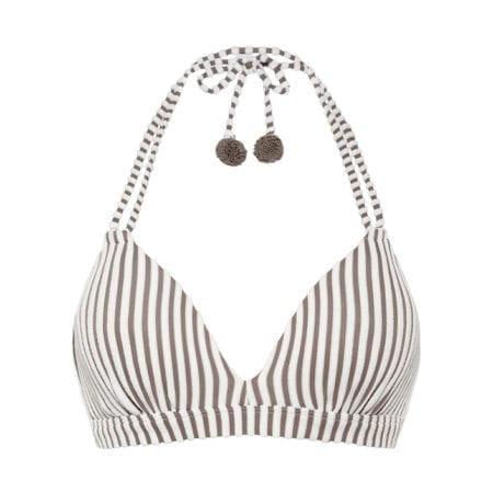 Beachlife Taupe Stripe bikini top 970106-782