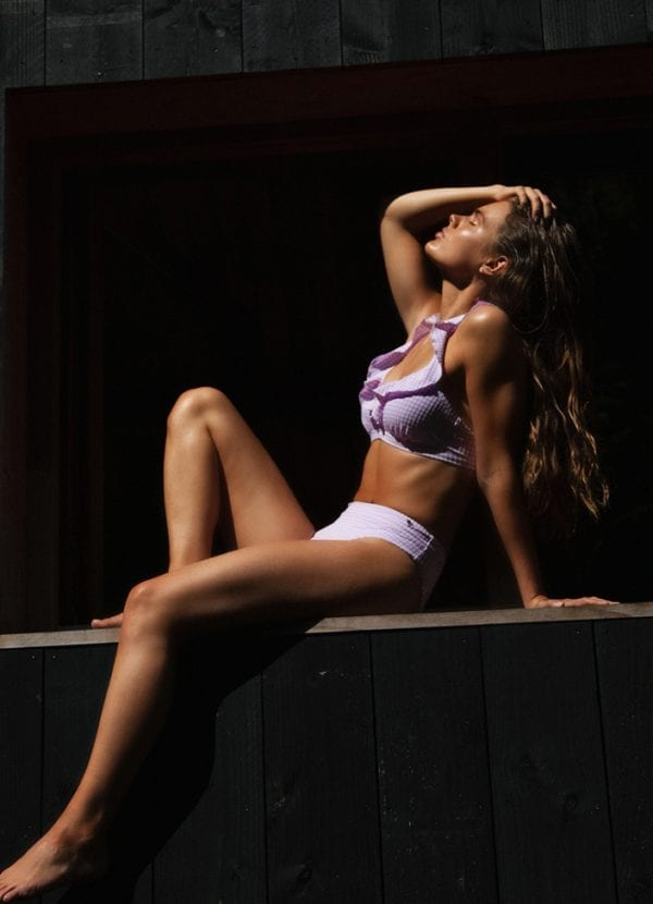 Beachlife early bird Lilac Check ruffle bikinitop & high waist bikinibroekje