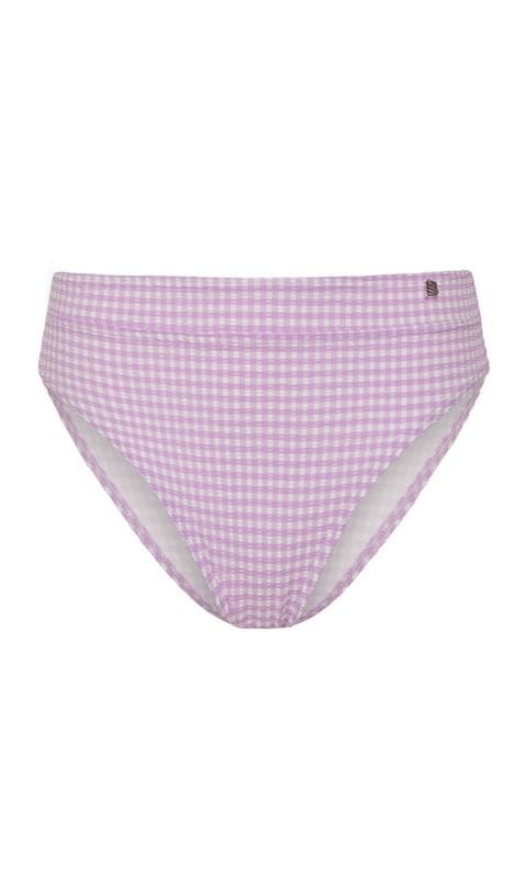 Beachlife Lilac Check high waist bikinibroekje Hoog opgesneden fit