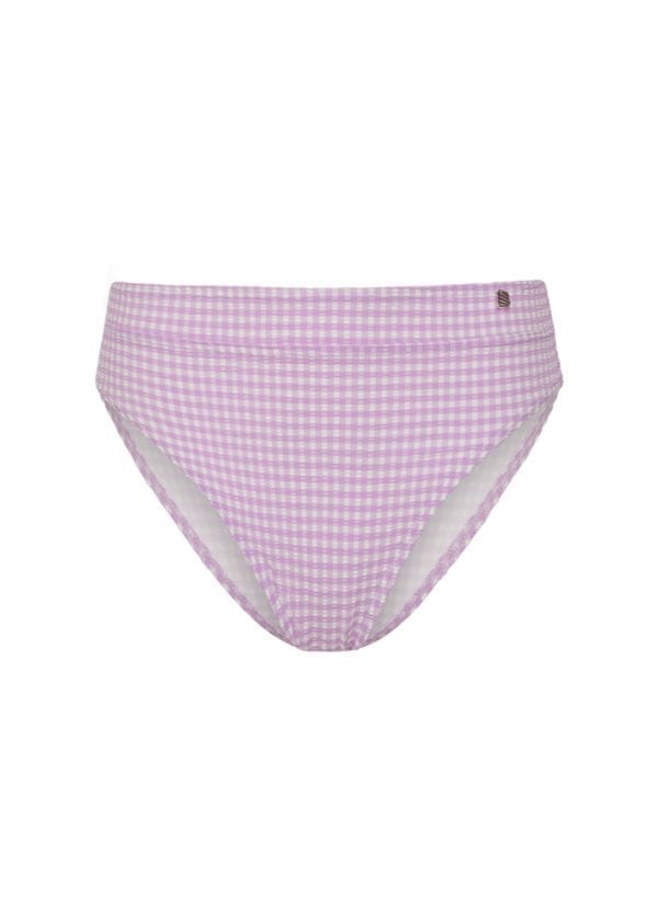Beachlife Lilac Check high waist bikinibroekje Hoog opgesneden fit