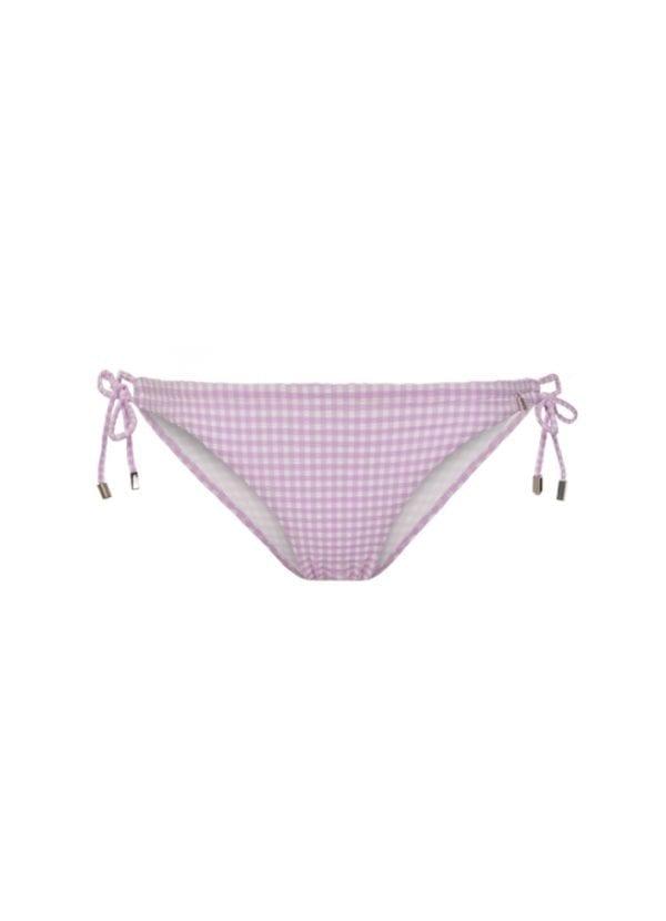 Beachlife Lilac Check strik bikinibroekje
