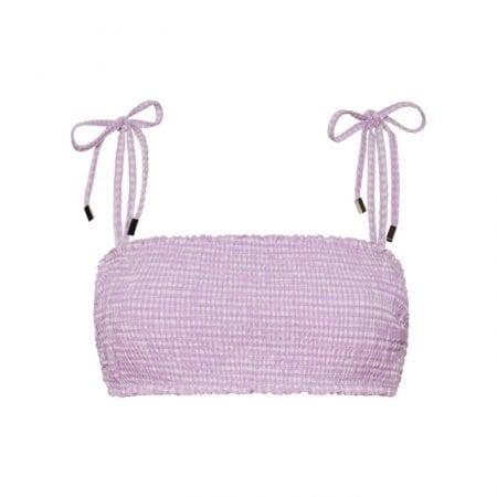Beachlife Lilac Check smock bikinitop