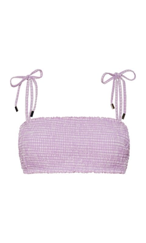 Beachlife Lilac Check smock bikinitop beugel