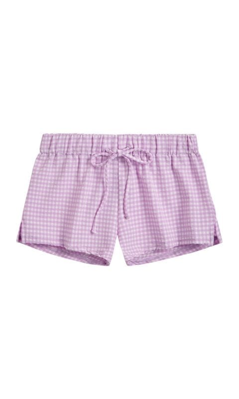 Beachlife Lilac Check meisjes shortje
