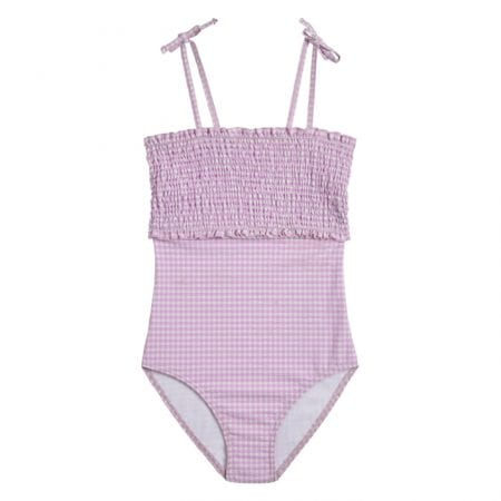Beachlife Lilac Check girls swimsuit 6 months - 16 years