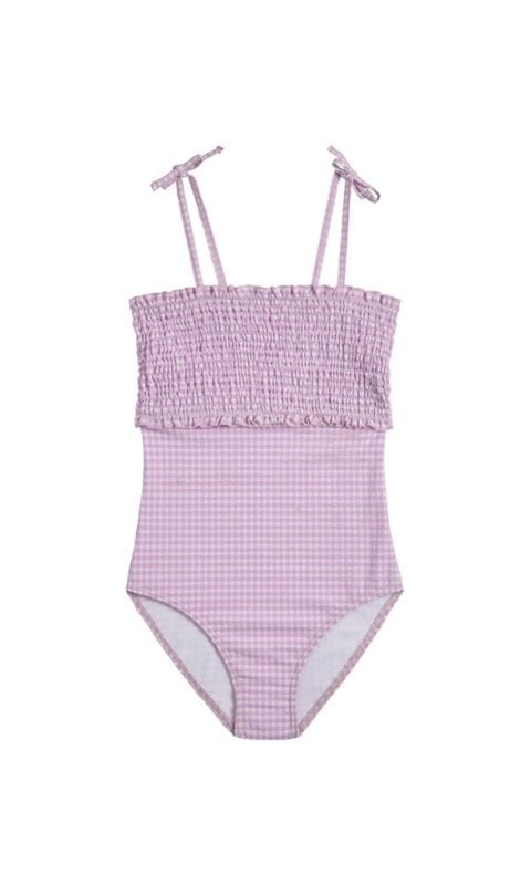 Beachlife Lilac Check meisjes badpak