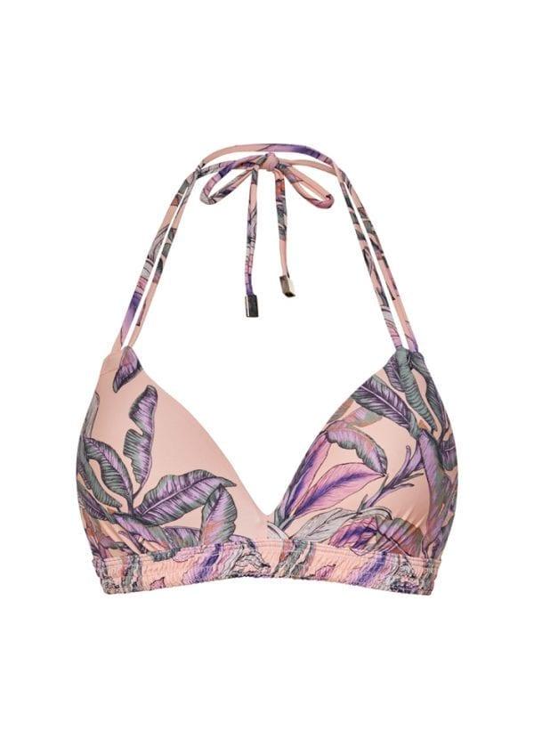 Beachlife Tropical Blush halter bikini top Padded and wired