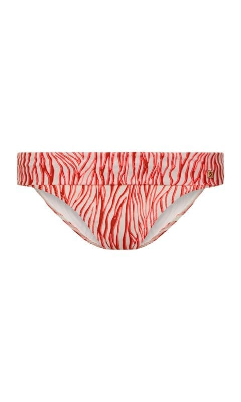 Beachlife Neon Zebra turnover waistband bikini bottom Covered fit