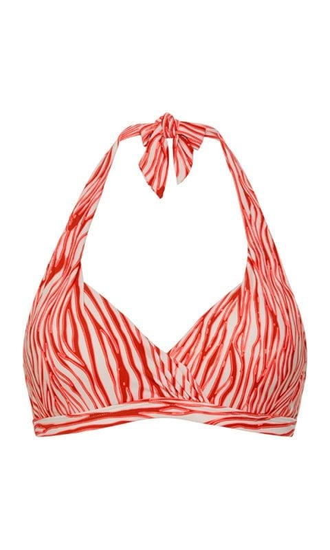 Beachlife Neon Zebra halter bikini top Padded and Wired