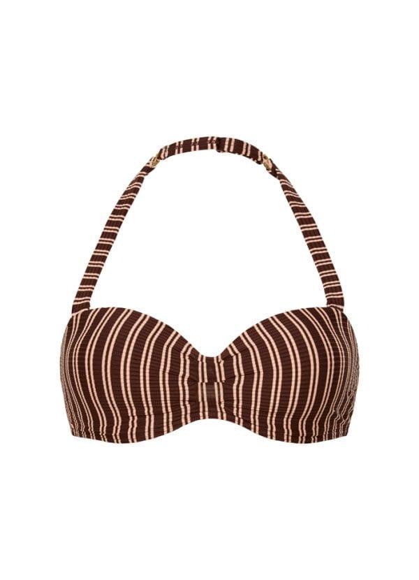 Beachlife Sweet Coffee bandeau bikinitop voorgevormd en beugel
