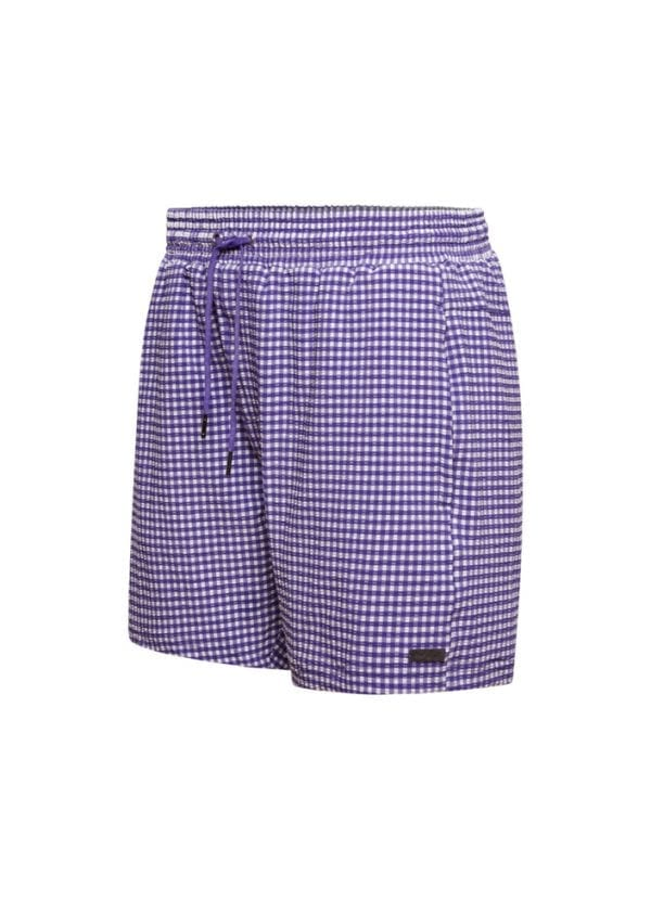 Beachlife Purple Check men's swim shorts