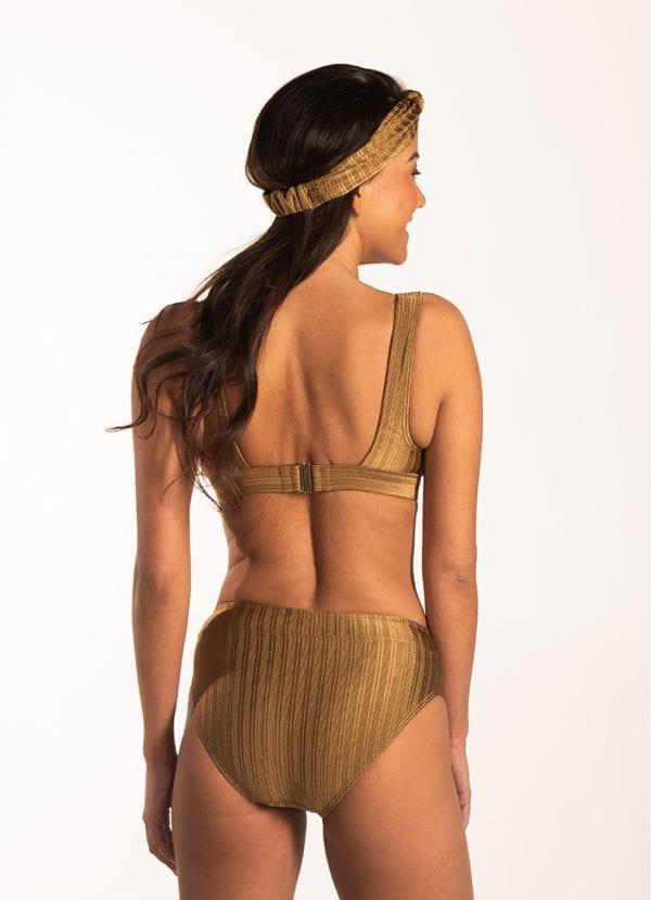 Beachlife Dull Gold high waist bikinibroekje Hoog opgesneden fit & Dull Gold easy fit bikinitop Niet voorgevormd