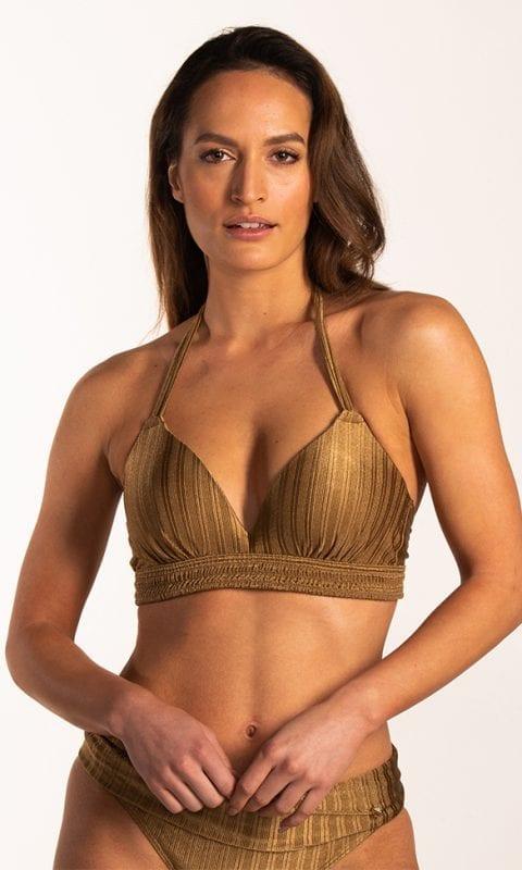 Beachlife Dull Gold omslag bikinibroekje Bedekte fit & Dull Gold halter bikinitop Voorgevormde cups en beugel