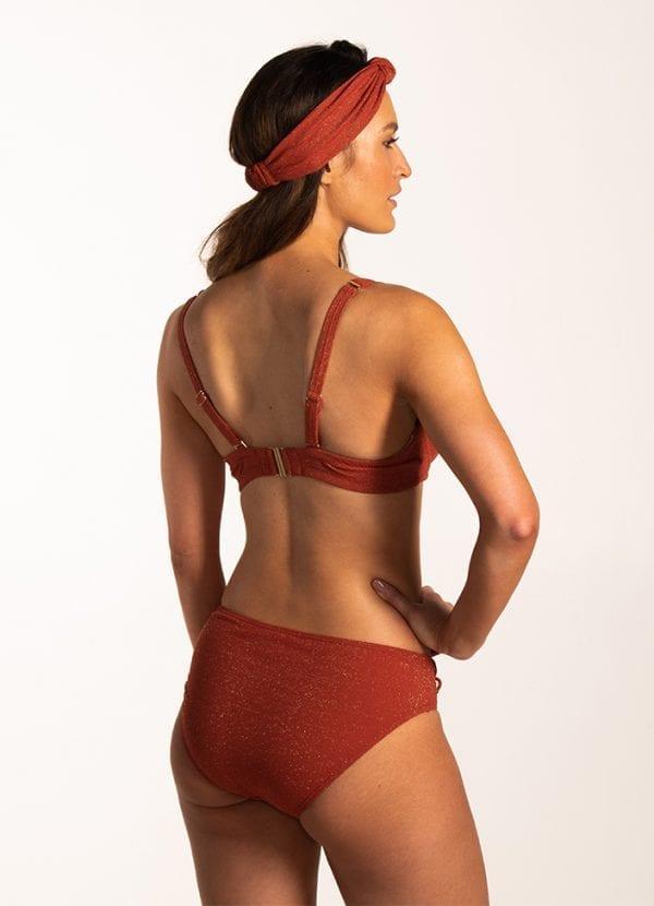 Beachlife Earthy Shimmer hoog bikinibroekje Bedekte fit & Earthy Shimmer shaping bikinitop - Cup D,E,F Beugel