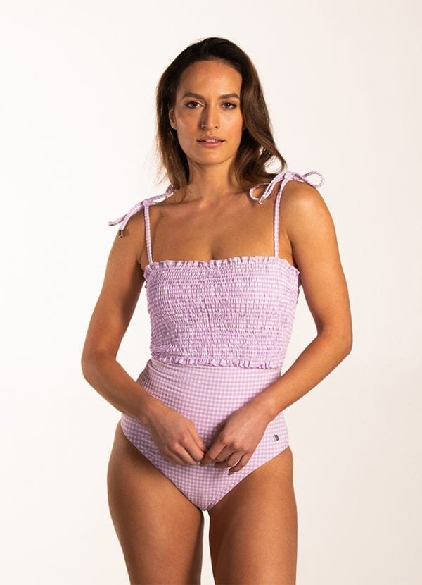 Beachlife Lilac Check smock badpak Beugel