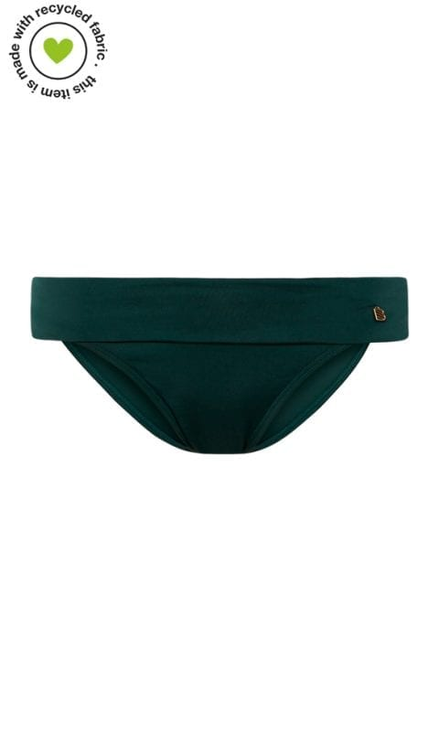 Beachlife Rich Green turnover waistband bikini bottom Covered fit