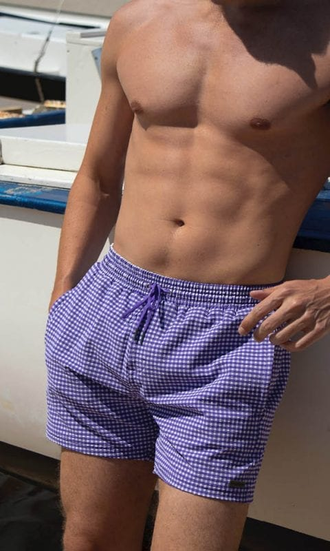 Beachlife swimwear heren zwembroek Purple Check SS21