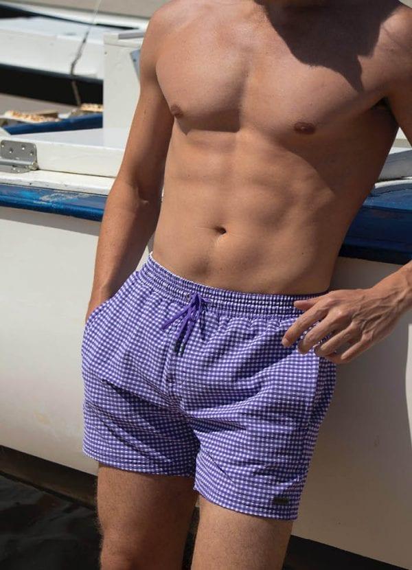 Beachlife swimwear heren zwembroek Purple Check SS21