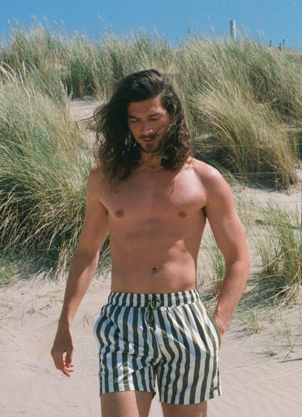 Beachlife swimwear men's swim shorts Stripe Pesto SS21