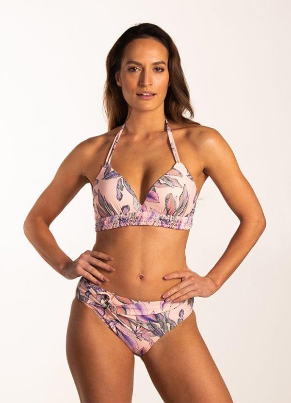 Beachlife Tropical Blush halter bikinitop Voorgevormde cups en beugel
