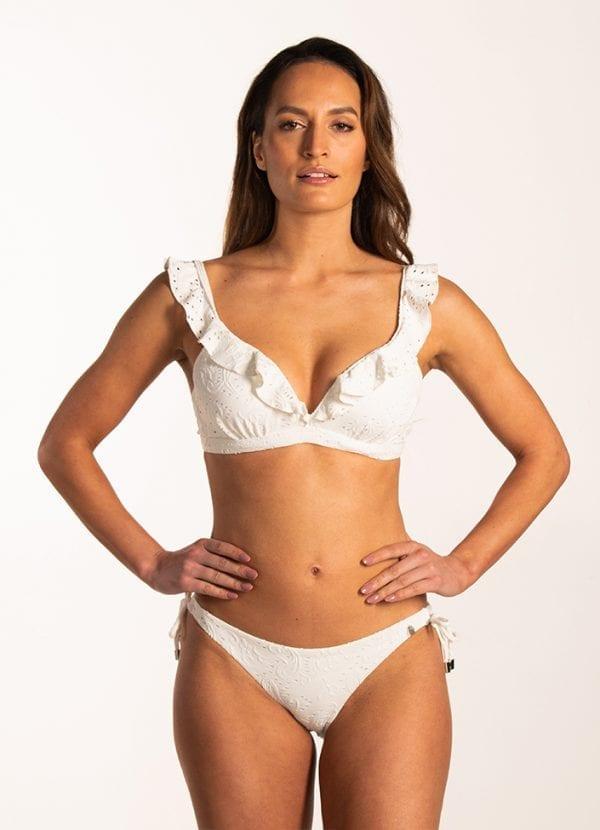 Beachlife Blanc de Blanc ruffle bikinitop Voorgevormde cups & beugel & Blanc de Blanc strik bikinibroekje Normale fit