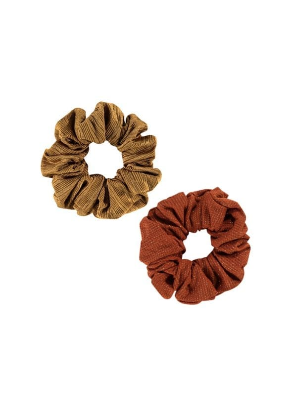 Beachlife Scrunchies | 2 st. Dull Gold & Earthy Shimmer